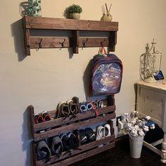 Pallet Shoe Rack / Wall Shoe Rack / Rustic Shoe Rack / Shoe | Etsy Rustic Shoe Rack, Wooden Shoe Racks, Rustic Bookshelf, Bookshelves, Shoe Storage Pallet, Wall Shoe Rack, Minwax Wood Stain, Love Shelf, Plant Shelves