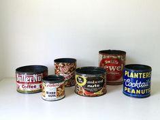 Six Vintage Food Tins . Antique Coffee Cans . Antique Nut