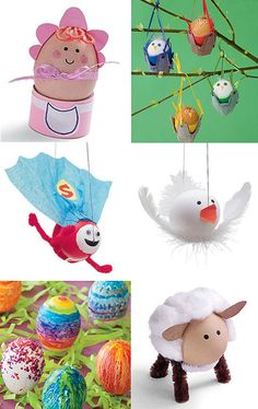 There's quite a lot of searches on the site for Easter Crafts so here's a few egg decorating ideas for you to play with. I LOVE these Dye-ving Dudes made with craft eggs, bottle tops, elastic bands, bendy straws and felt. We're definately going to make these – they would look funny bobbing in a [&hellip