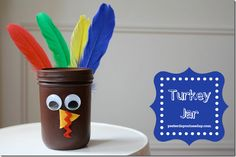Let's continue our turkey talk today. With this adorable little turkey mason jar …  Some paint. Some google eyes. Some felt. Some feathers. And voila!  You now have a turkey jar you can...