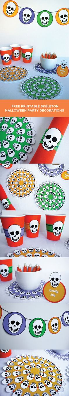 """Free printable Halloween party decorations! Skeleton banner, skeleton """"doily"""" in three colors, cup wraps, paper napkin rings, and buffet table food markers that you can personalize yourself. Just print, cut, and party! Halloween Table Decorations, Halloween Party Decor, Easy Halloween, Halloween Costumes For Kids, Holiday Gift Tags, Holiday Crafts, Mason Jar Diy, Halloween Projects, Free Printables"""