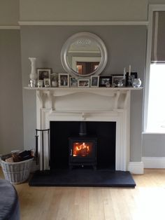 Our Chesney's Salisbury stove (wall colour is Farrow and Ball Hardwick White below picture rail, with Shaded White above) Salisbury, Log Burner Fireplace, Wood Burner, Picture Rail, 1930s House, Grey Room, Front Rooms, Family Room Design, New Living Room