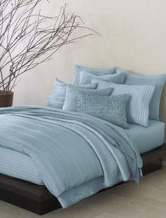 Donna Karan Bedding, City Stripe Essentials King Pillowcases Sea Blue