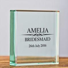 Heritage Wedding Female Personalised Glass Keepsake