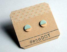 Porcelain dot stud earringspastel peach sky blue by decoSQUARE