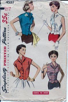 Vintage 50s Weskit Blouse Simplicity Pattern 4533 Size 14 B32