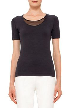 Akris punto Mesh Inset Scoop Neck Tee available at #Nordstrom