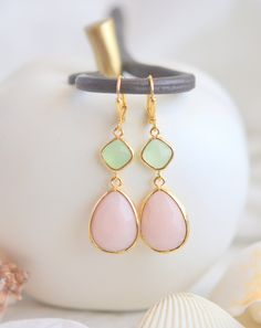 Gold Plated Soft Peach and Mint Color Gemsstone Bridemaid Earrings , Jewelry Gift for Wedding, Christmas or Holiday