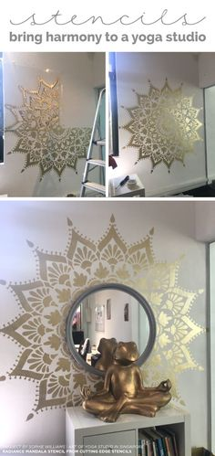 Stencils Bring Harmony To A Yoga Studio – Stencil Stories Cutting Edge Stencils shares how a yoga studio added stylish harmony to an accent wall using the Radiance Mandala Stencil in gold. Yoga Studio Design, Yoga Studio Home, Yoga Studio Decor, Yoga Studio Interior, Studio Art, Bathroom Interior Design, Diy Wand, Stencils Mandala, Stencil Patterns
