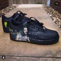 Billie Eilish Custom Nike Billie Eilish Custom Nike Custom painted Nike Air Force Ones by myself of Billie Eilish and her new album- When we all fall asleep, where do we go? Nike Air Force Ones, Nike Shoes Air Force, Nike Air Max, Custom Painted Shoes, Custom Shoes, Nike Custom, Billie Eilish, Basket Style, Aesthetic Shoes