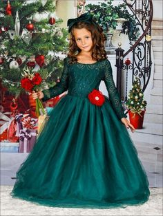 ca3b6fa55b3 Girls Long Lace Sleeve Maxi Dress with Flower Clip (3 Color Options) for   44.99