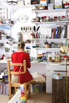 Photographer Rachel Whiting's creative space.... I would love a creative space like this!!!