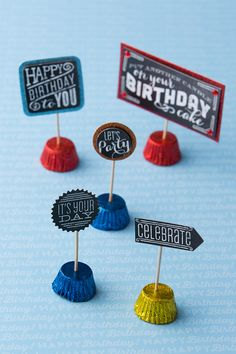 Sweet Birthday Placeholders — When it comes to planning the perfect birthday party, details matter. These REESE-tastic signs may be small, but they'll be the sweetest parts of your table décor. What you'll need: HERSHEY'S Birthday REESE'S Miniatures, toothpicks and an assortment of birthday stickers. Place the stickers on toothpicks, stick toothpicks into REESE'S Miniatures and place. Let's make your child's party the sweetest celebration ever, with HERSHEY'S Birthday candy. Let's Birthday!