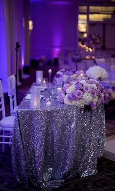 wedding themes A sweetheart table is the main place at your wedding reception and it should excite and highlight your style and theme. Make an accent on your sweetheart table with a sequin tablecloth, lots of flowers and rhinestones. Wedding Scene, Wedding Table, Diy Wedding, Dream Wedding, Trendy Wedding, Sweet Heart Table Wedding, Khaki Wedding, Rustic Wedding, Bridal Table