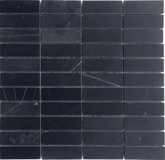 Nero Marquina (Black Marble) Stacked Brick Honed Mosaic - To cut into strips and use as floor border tiles between marble and white herringbone in center.