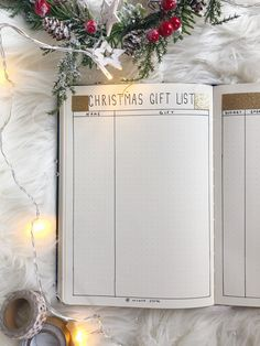Christmas gift list for bullet journal will help you to organise your holiday shopping stress-free! Click the link to see 6 other jolly spreads...