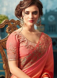 Bright and Beautiful Orange and Pink Embroidered Silk Georgette Saree. and lovely makeup and hair too. Beautiful Muslim Women, Beautiful Girl Image, Wedding Saree Collection, Indian Photoshoot, Beautiful Bollywood Actress, Saree Dress, Georgette Sarees, Indian Beauty Saree, India Beauty