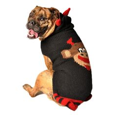 Smiling Devil Monkey Organic Wool Dog Sweater Knit Hoodie for 2-120 lb for Dogs - 8 sizes