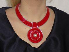 Korte ketting - rood lederen kraag - Een uniek product van glotierma op DaWanda