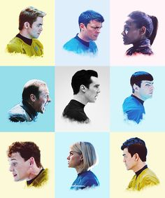 Star Trek 2013 Cast : Kirk, Bones McCoy, Uhura, Scotty, KHAN, Spock, Chekov, Carol, and Sulu.