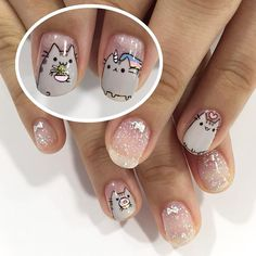 Cute Pusheen set by senior nail artist Eloise! *this design must be requested in advance! Kawaii Nail Art, Cat Nail Art, Animal Nail Art, Cat Nails, Nail Swag, Nail Art Designs, Super Cute Nails, Nails For Kids, Japanese Nail Art