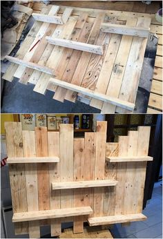 Check out this image that is all about the wall shelf designing framework for you. This wall shelf has been enrolled with the beautiful work of the wood pallet as being put into the shelves divisions of the structural concepts. Pallet Frames, Pallet Wall Shelves, Wall Shelves Design, Diy Pallet Projects, Wood Projects, Woodworking Projects, Pallet Ideas, Wood Pallet Planters, Wood Pallet Furniture