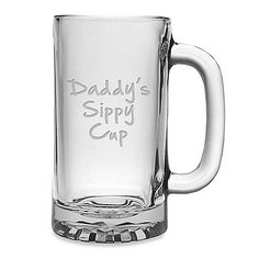 This large masculine 16-ounce beer mug makes it perfect for Dad. Handsomely packaged in a gift box with the Daddy's Sippy Cup wording deeply sand-etched onto the mug hand.