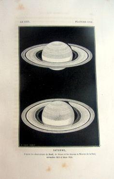 Antique astronomy Saturn print, 1870.
