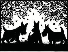 Scotties scherenschnitte  Scottish terrier paper cutting art