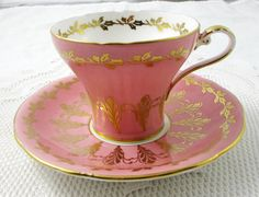 Pink Aynsley Tea Cup with Gold Filligree, Corset Shape, Vintage Bone China