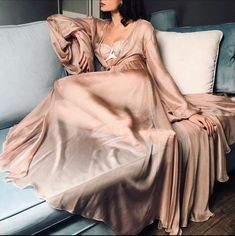 Long Nude Bridal Robe/ Sheer Robe/ See Through Lingerie/ Erotic Lingerie/ Erotic Nudity/ Sheer Lingerie/ Nude Lingerie/ Chiffon Robe/ – My Wedding Dream Sheer Lingerie, Pretty Lingerie, Elegant Lingerie, Beautiful Lingerie, Look Fashion, Fashion Outfits, Womens Fashion, Lingerie Design, Robes Glamour