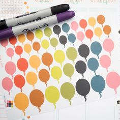 49 Balloons Sticker Planner // Perfect for Vertical Erin Condren Life Planner by FasyShop on Etsy