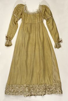 Silk afternoon dress, French, c1814.