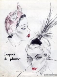 feathers hats 1950 - Buscar con Google