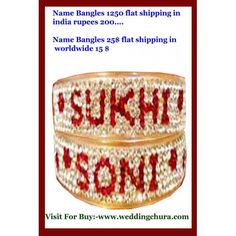 Build a Personalize name bracelet or bangles that complements your personal style! Limoges has plenty of beautiful designs, all bangles are engraved with stone with your husband wife name specially made with love which makes a great personalized gift by shahihandicraft Ambala cantt. Visit to buy at :- www.weddingchura.com . You can Add us on our whatsapp No-9416307694 and tell us your Requirement Regarding Designs , Color and Size with names of husband wife.
