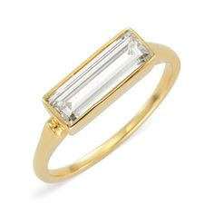 A Baguette-cut Diamond and Gold ring, of 1.35 carats -