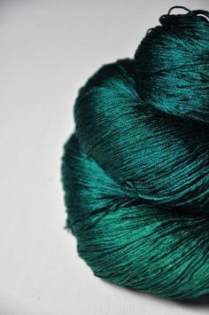 Pestled emerald  Silk Lace Yarn by DyeForYarn on Etsy