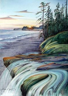 Sand Cut Beach by Sue Coleman Native Art, Native American Art, Landscape Drawings, Landscape Paintings, Images D'art, Google Images, Canadian Artists, Canadian Painters, Art Pictures