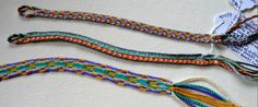 Three complex fingerloop braids of 9 to 15 loops. Loop manipulation, color-linking