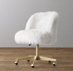 fluffy desk chair front porch rocking chairs canada 613 best images desks office alessa kashmir faux fur antiqued brass