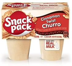 Cinnamon Churro flavored pudding dessert—where sweet and creamy meet delicious.Our Cinnamon Twist Churro Snack Pack is an excellent source of calcium*, gluten-free and made with: Real milk No preservatives 0 grams trans fat No high-fructose corn syrup Snack Pack Pudding, Pudding Flavors, Pudding Desserts, Gourmet Recipes, Snack Recipes, Snacks, Cinnamon Twists, Churros, Corn Syrup