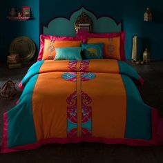 4 Pieces Bohemia Bedding Sets for Queen King Size Embroidery Patchwork Quilt Cover Sets 2014 New Cotton Bedlinens
