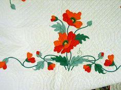 Poppies Applique Quilt- Mint SOLD | Cindy Rennels Antique Quilts
