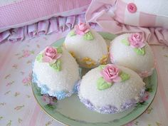 Rainbow Faux Sugar Eggs by sweetnshabbyroses, via Flickr