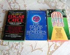 3 Vintage Edgar Cayce Books The Story of Edgar Cayce There is a River The Edgar Cayce Remedies and Edgar Cayce Speaks 70s 80s Paperbacks