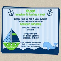 Nautical Baby Shower Invitation Ahoy Its a Boy Boat and Whale