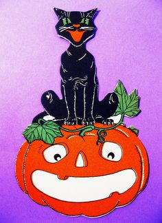 Vintage Halloween Place Card Cat Sitting on Grinning Jack O Lantern Unused | eBay