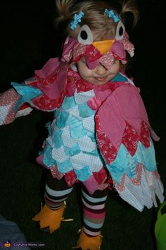 Tricia: My 17-month old daughter in her owl costume. I re-purposed an old dress of hers by sewing patches of fabric, as feathers. Using felt, I cut feet and tied them...