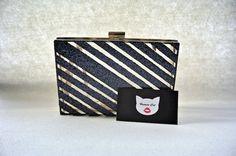 Handmade mini clear black and white pop art Plastic, acrylic perspex transparent box clutch, evening bag, shoulder bag  #humancat #handmade #clutch