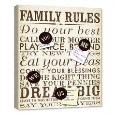 Family Rules Canvas Magnet Board & Photo Board | Lot 26 Studio
